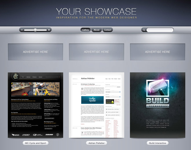Showcase Gallery UI PSD