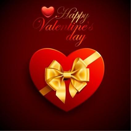 Valentine's Day Vector Design Heart Box Ribbon