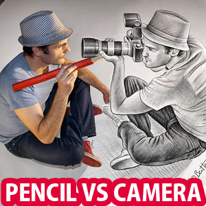 Pencil Drawing Vs Camera - 25 Creative Pencil Drawings by Ben Heine