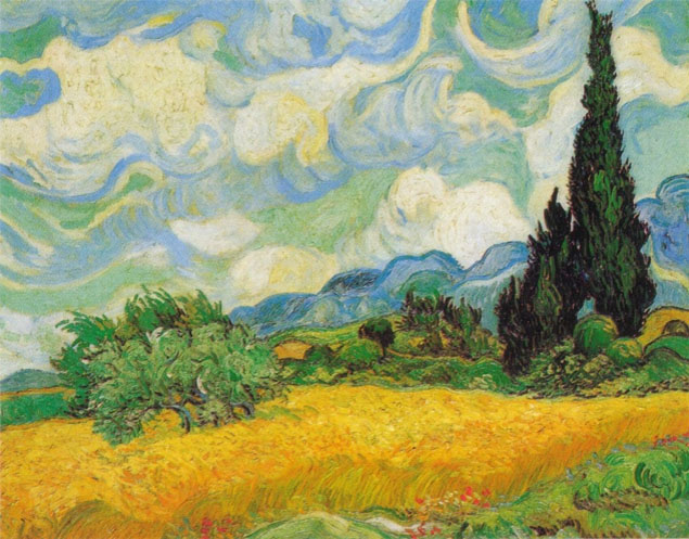 16-A Wheatfield with Cypresses