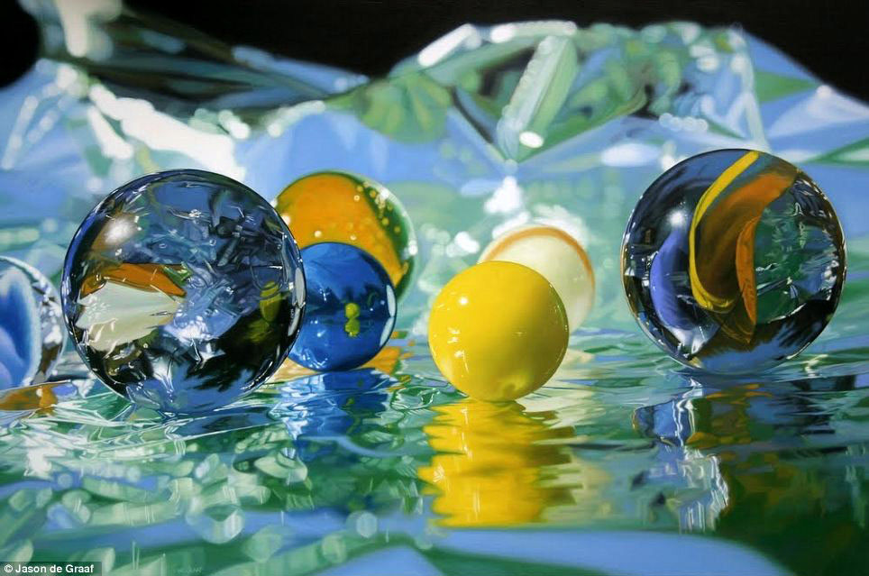 Picture-13 ( 30 Hyper-Realistic Acrylic Paintings by JasondeGraaf - Glass and Reflection )