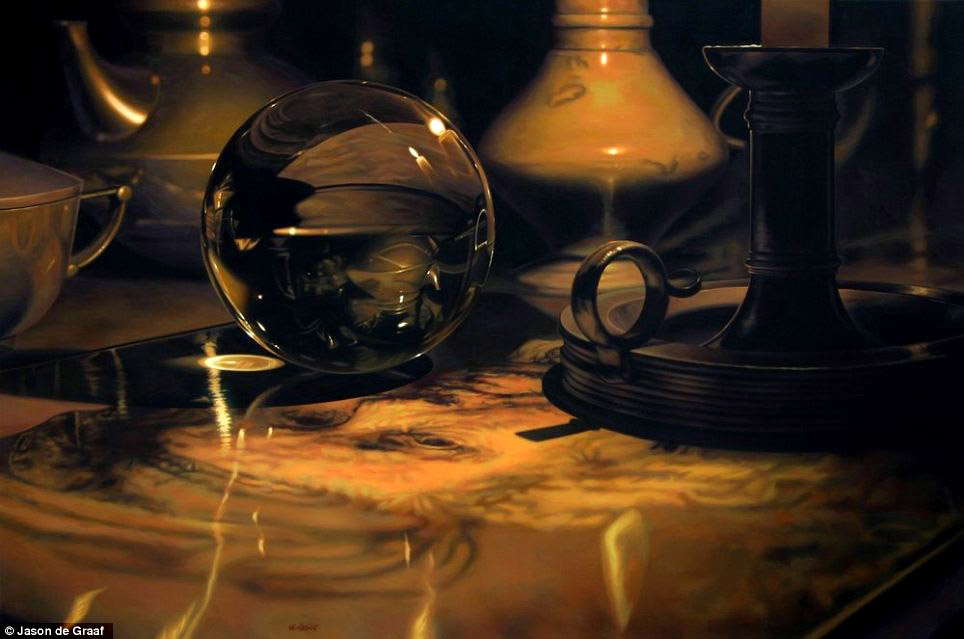 Picture-16 ( 30 Hyper-Realistic Acrylic Paintings by JasondeGraaf - Glass and Reflection )