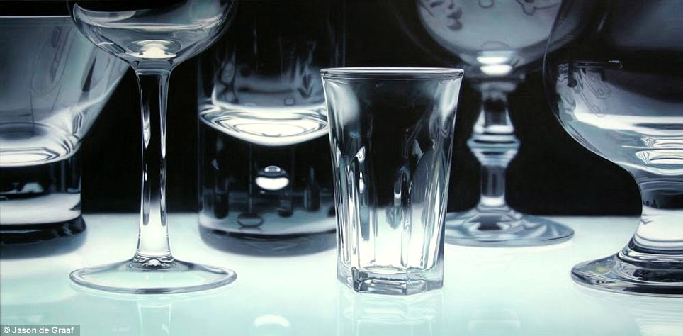 Picture-19 ( 30 Hyper-Realistic Acrylic Paintings by JasondeGraaf - Glass and Reflection )