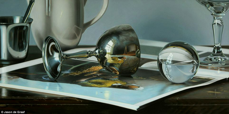 Picture-20 ( 30 Hyper-Realistic Acrylic Paintings by JasondeGraaf - Glass and Reflection )