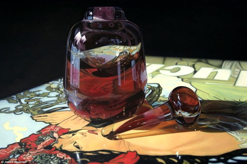 Picture-21 ( 30 Hyper-Realistic Acrylic Paintings by JasondeGraaf - Glass and Reflection )