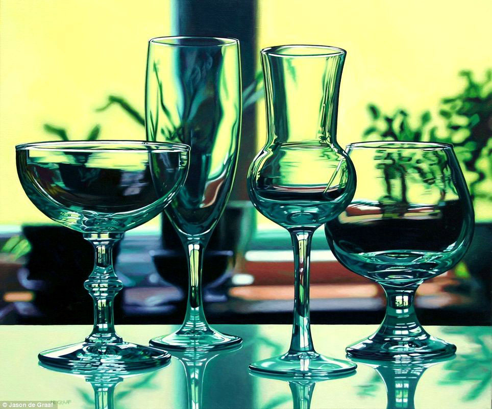 Picture-28 ( 30 Hyper-Realistic Acrylic Paintings by JasondeGraaf - Glass and Reflection )