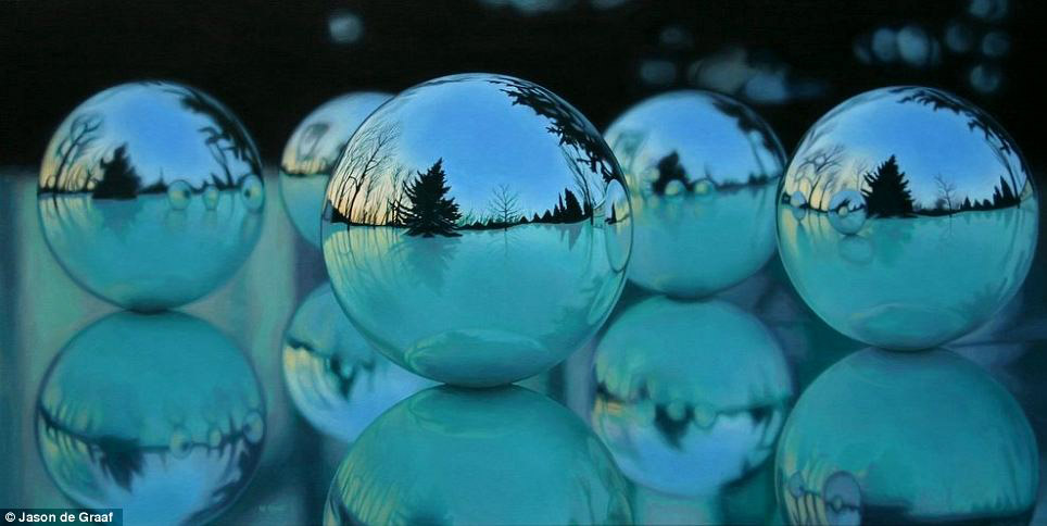 Picture-7 ( 30 Hyper-Realistic Acrylic Paintings by JasondeGraaf - Glass and Reflection )