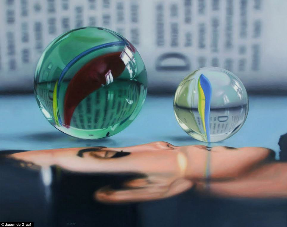 Picture-8 ( 30 Hyper-Realistic Acrylic Paintings by JasondeGraaf - Glass and Reflection )