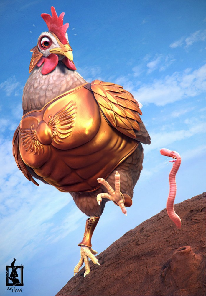 3d character design chicken by josealvesdasilva