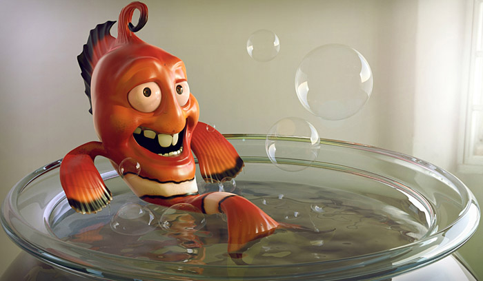 3d character design fish by emerson