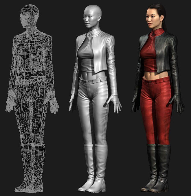 3d woman wip model character design