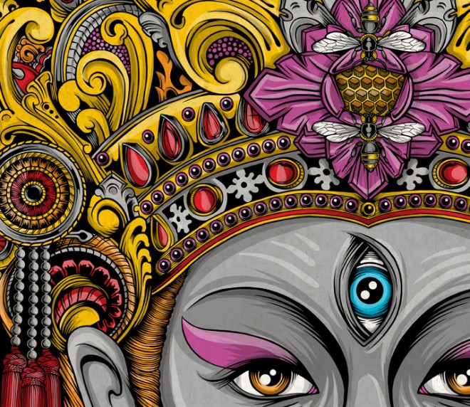 Balinese%20Mask%20Artwork%20(8).forblog 15 Stunning and colorful illustrations and digital paintings by Balinese Indonesia