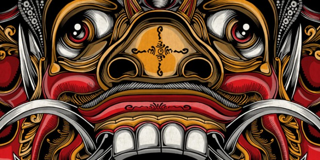 art-illustration-painting-mask-indonesia-balinese