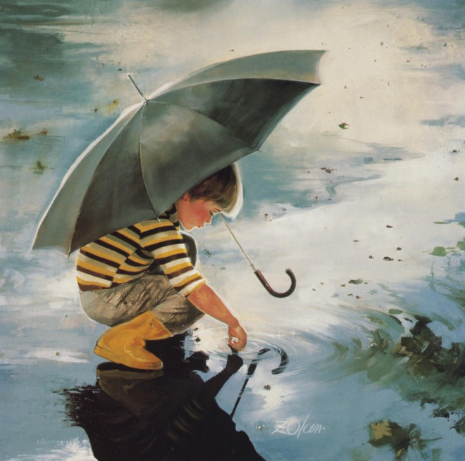 painting boy rain water
