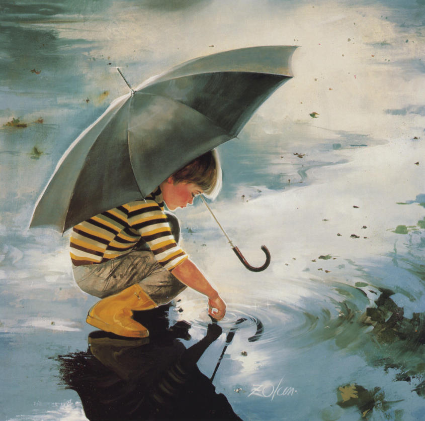 Beautiful painting   A boy is playing in rain water