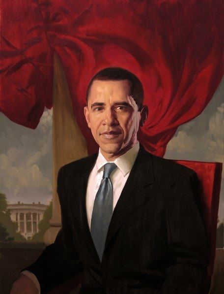 paintings illustration caricature Daniel Adel Oil Portraits-Obama (9)