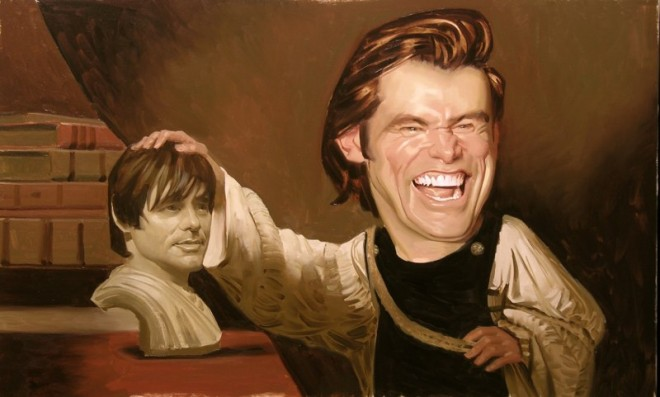 paintings illustration caricature Daniel-Adel-Jim Carrey Contemplating the Bust of Jim Carrey
