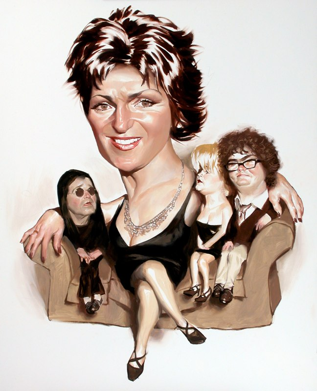 paintings illustration caricature Daniel-Adel-The Osbournes TV Guide