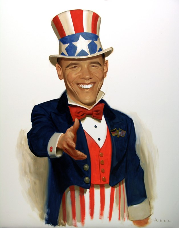 paintings illustration caricature Daniel-Adel-Uncle Barack Der Spiegel