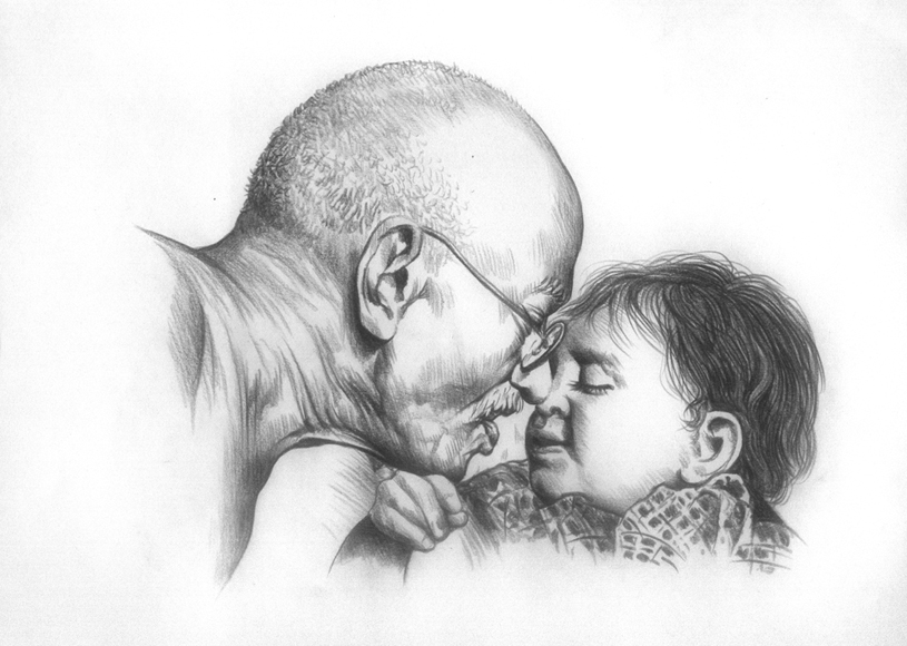 Gandhi Pencil Drawing