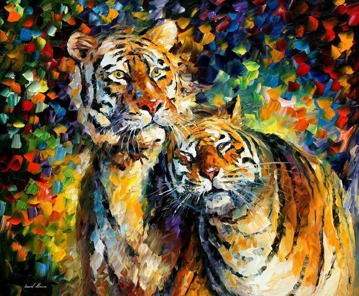 tiger painting leonid by afremov