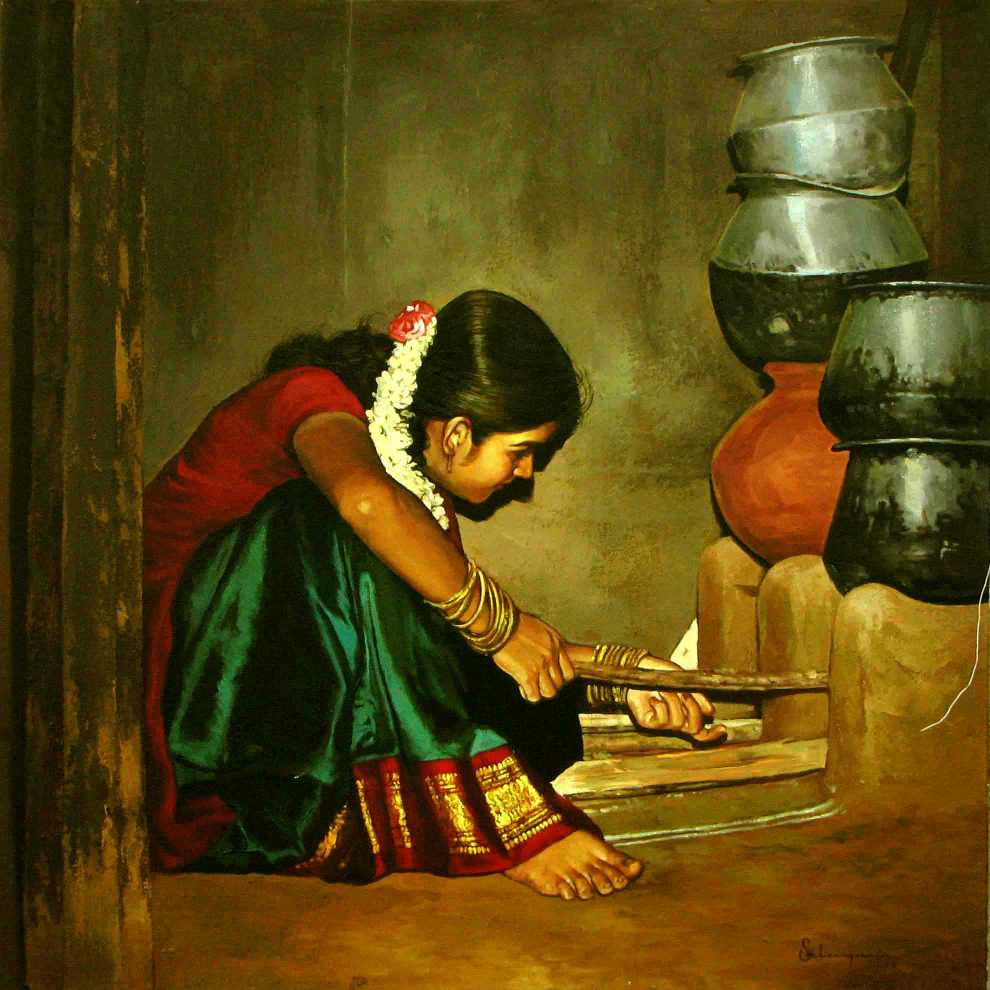 Paintings of rural indian women   Oil painting (1)