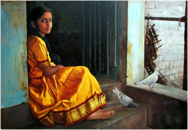 Paintings of rural indian women - Oil painting (6)