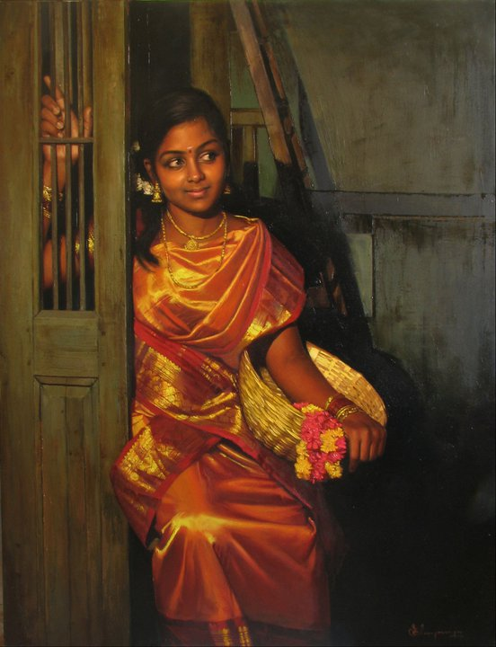 25 Beautiful Rural Indian Women Paintings by Tamilnadu artist    Famous Indian Paintings Of Women