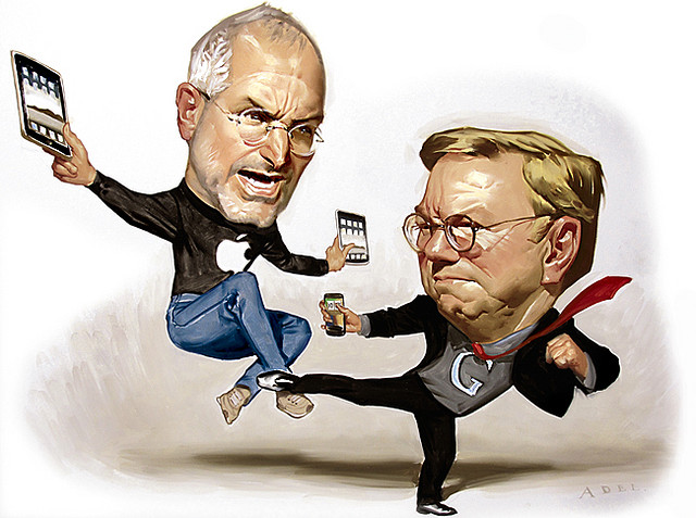 paintings illustration caricature Steve Jobs and Eric Schmidt