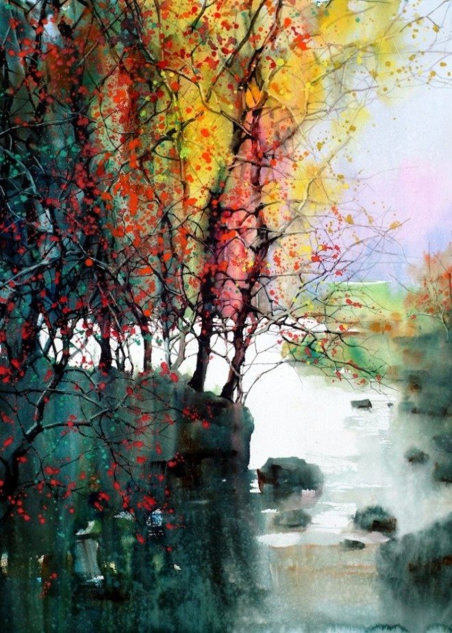 Water colour paintins   ZL Feng   Shangai Artist (7)