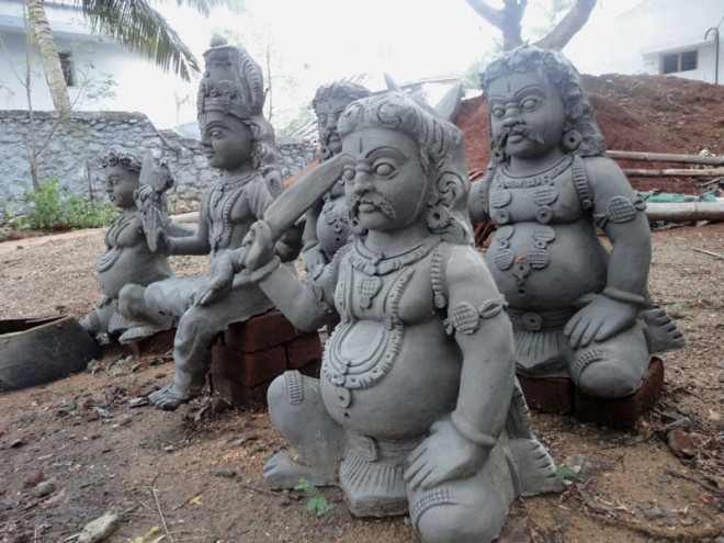 Indian Temple sculptures made by cement