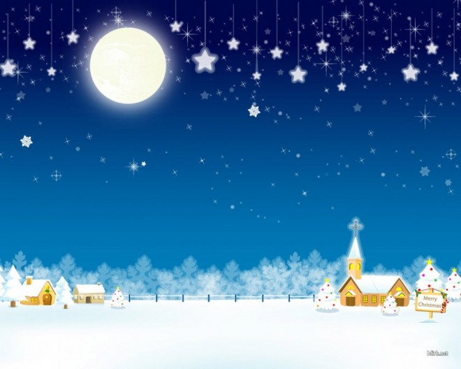 christmas snow village wallpaper