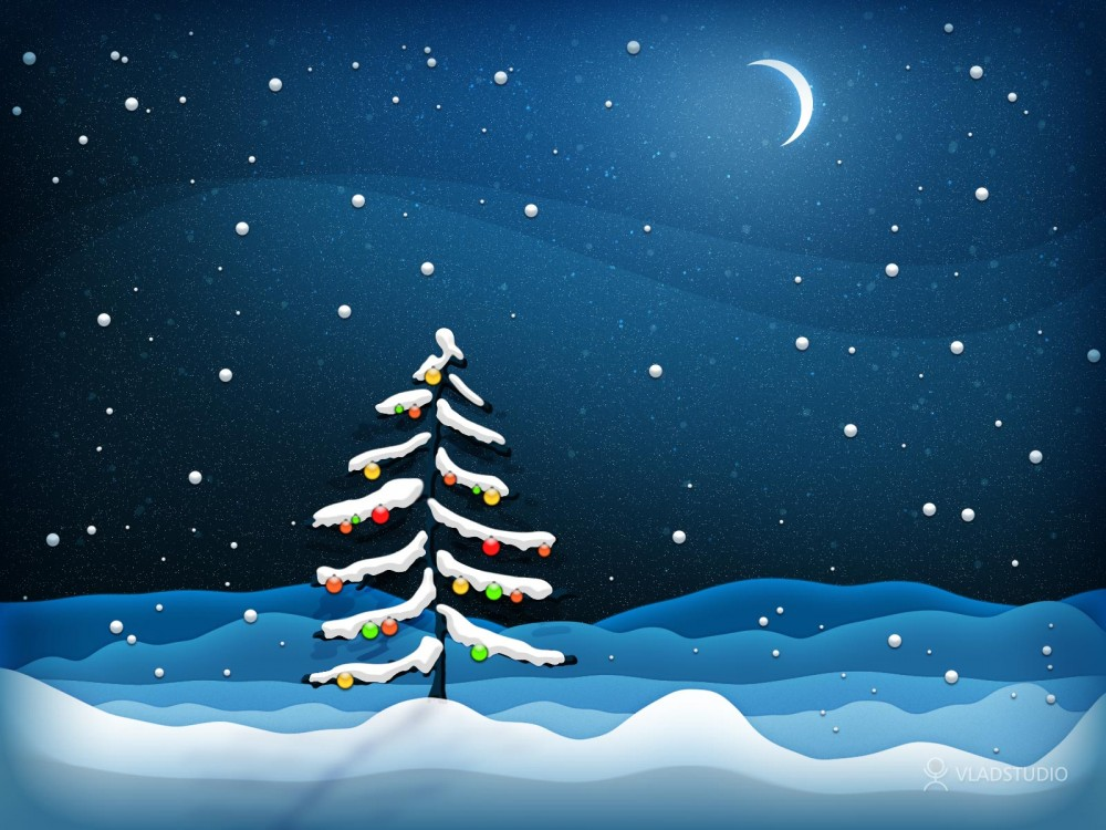 christmas tree night wallpaper