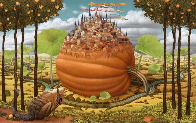 Dream Worlk painting van Jacek Yerka - Frank Zweegers Kunst Blog