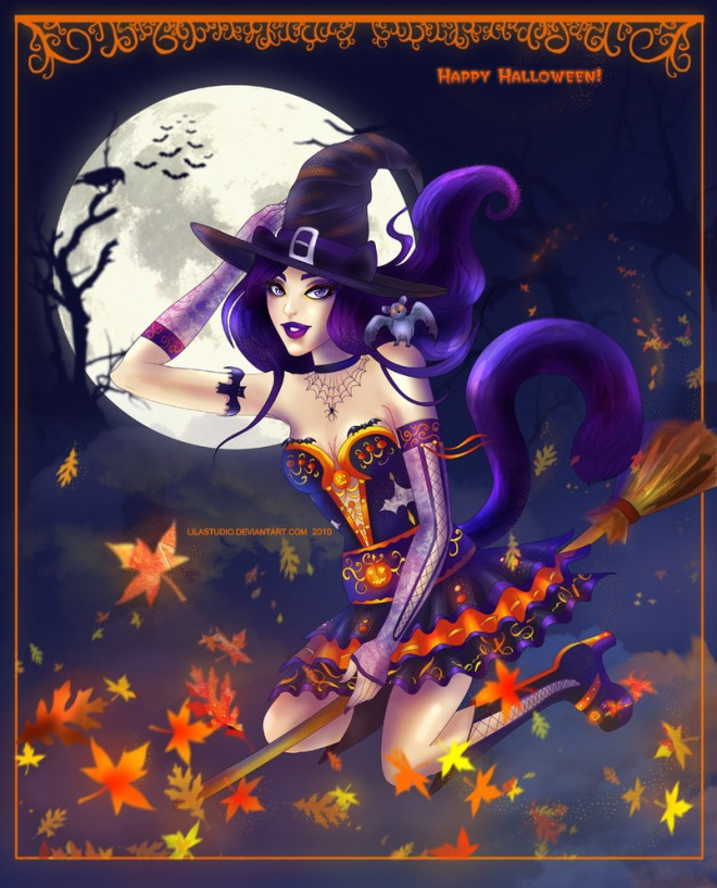 Beautiful Halloween Witch Paintings for your inspiration
