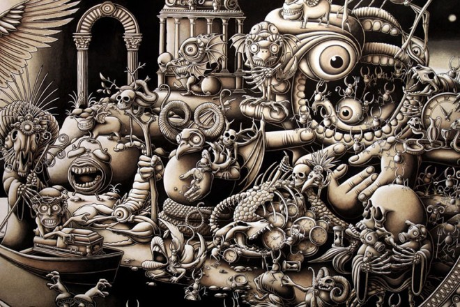 mural mega drawings joe fenton solitude%20(7).forblog 20 Mind blowing Mega size Drawings by Joe Fenton   Solitude