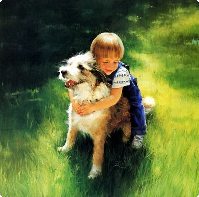 painting boy huggs a dog