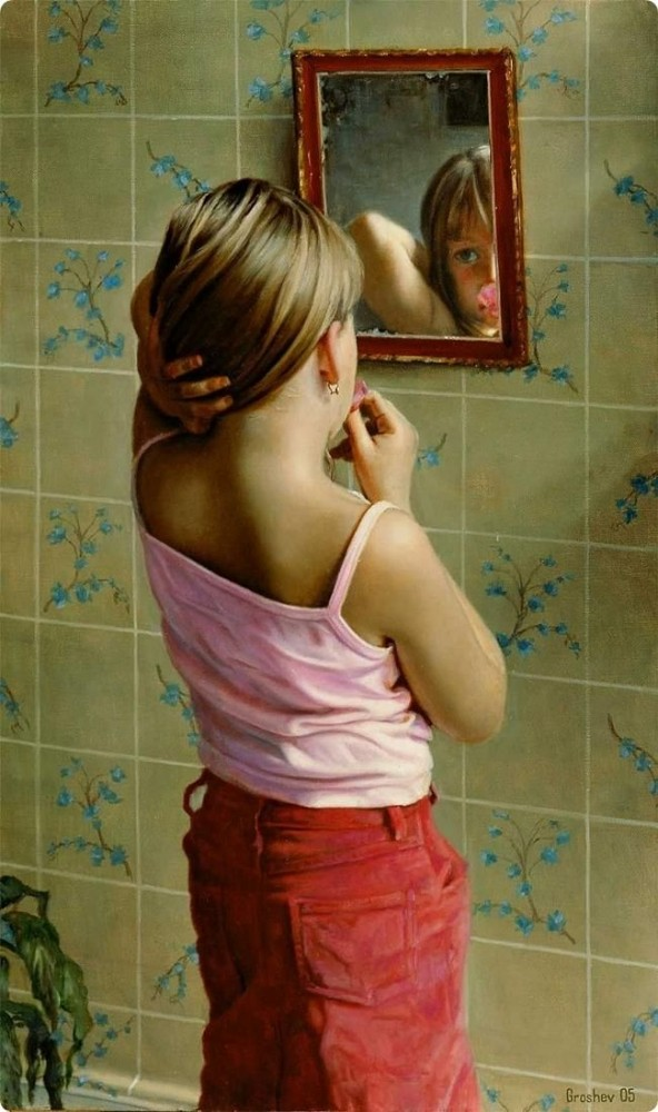 painting looking on mirror