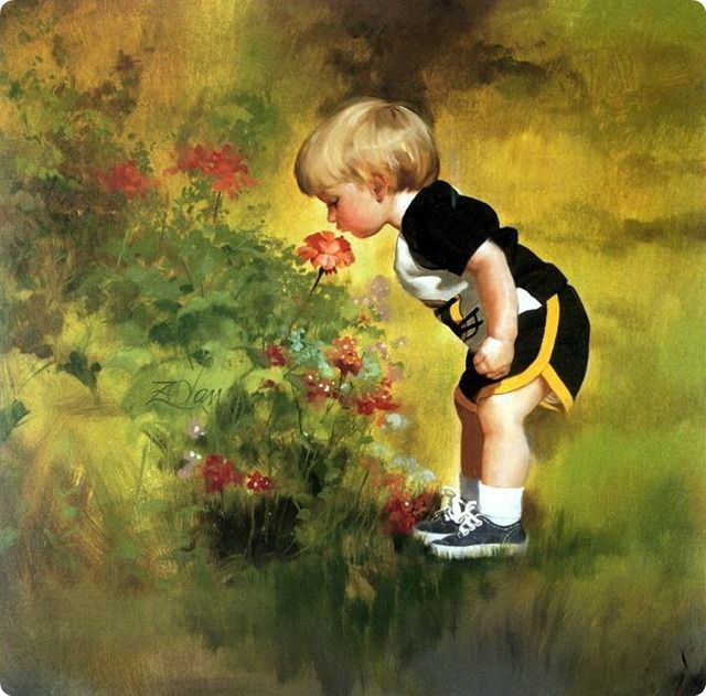 painting boy smells flowers
