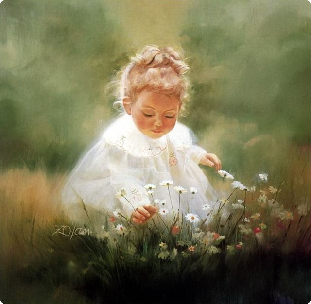 painting- child in garden