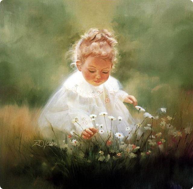 painting  child in garden
