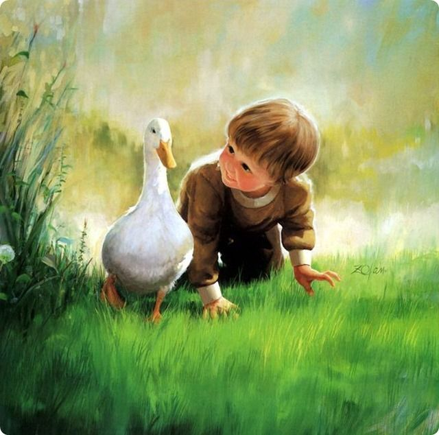painting  child with duck