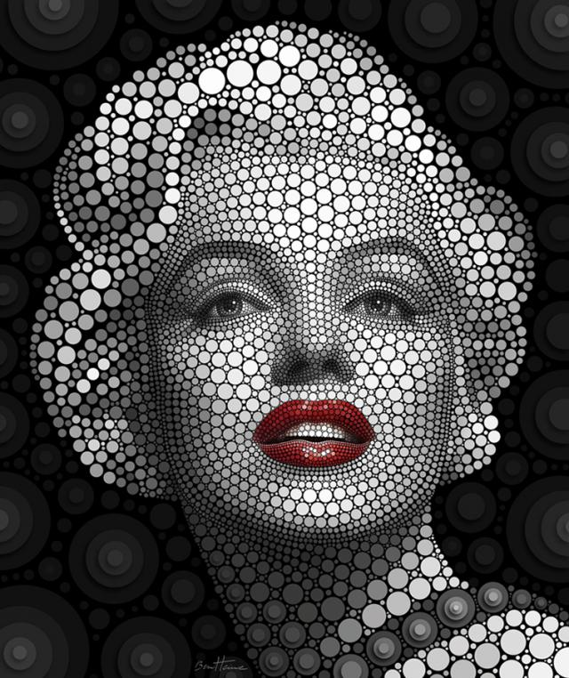 photo manipulation circle dots ben heine%20(11) 20 Celebrity Portraits Created by Circles   Digital Circlism by Ben Heine