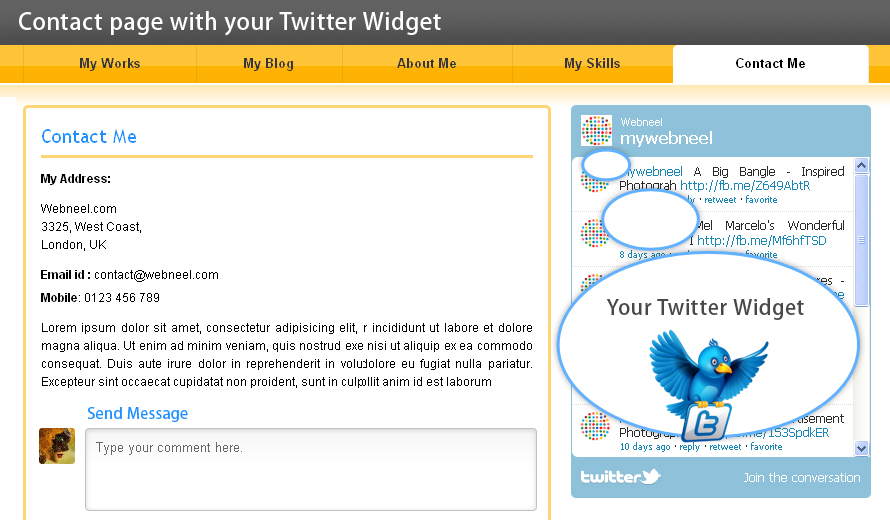 contact page with twitter widget