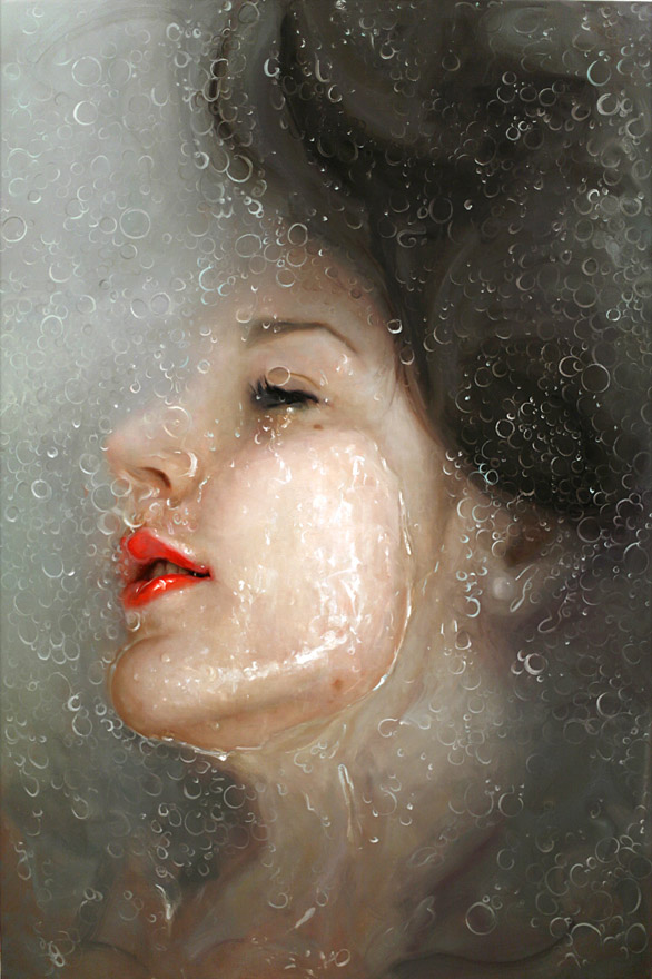 realistic painting glass window alyssa monks%20(7) 20 Hyper Realistic Oil Paintings by Alyssa Monks   Glass, Steam, Water and Flesh