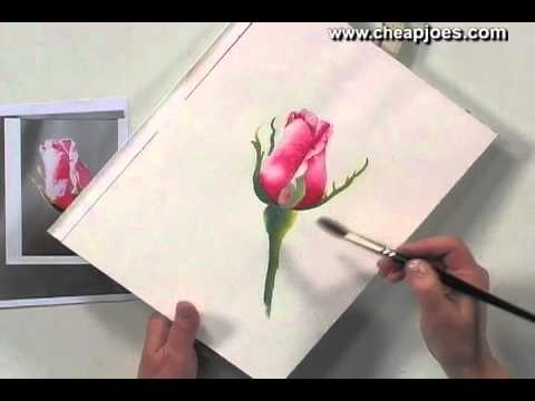 Painting a beautiful rose in water color  - Video Tutorial