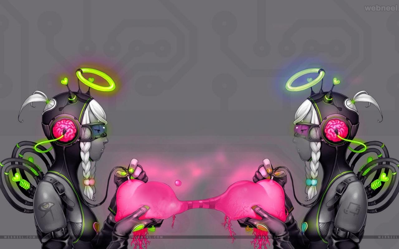love wallpaper twin robots