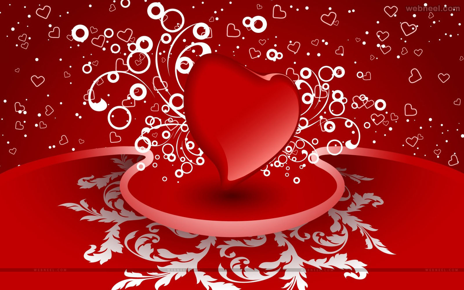 Red Heart Romantic Valentine Wallpaper Hd Wallpaper