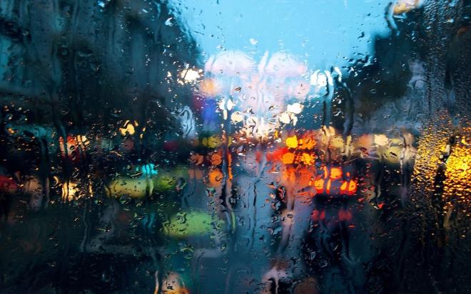 colourful rainy drops on window wallpaper