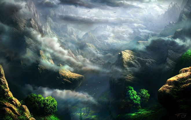 mountain matte painting by feliks wallpaper